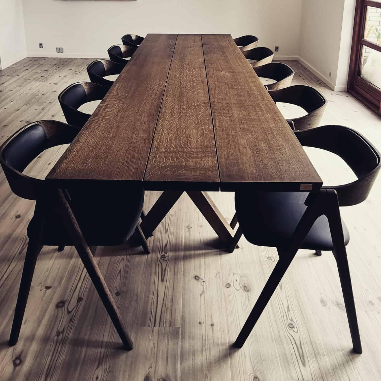 Snedkerbord Mette spisebordsstol Kaerbygård plankeborde mm faerdige 50
